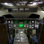 A mockup flight deck of a Space Shuttle at the Hong Kong Space Museum.